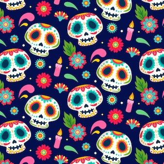 Día de los muertos diseño dibujado a mano patrón