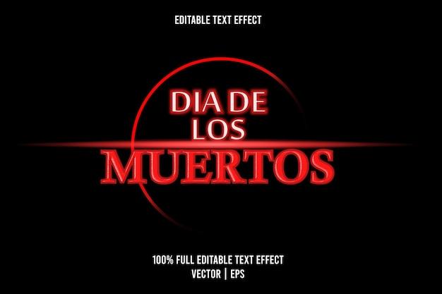 Dia de los muertos efecto de texto color rojo