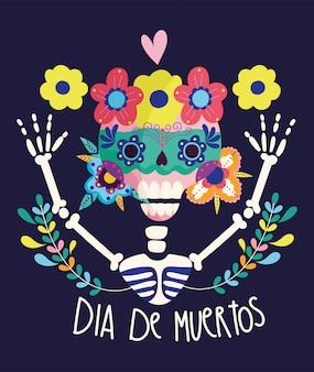 Día de los muertos, esqueleto con calavera flores decoración tradicional celebración mexicana