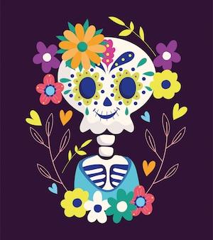 Día de los muertos, esqueleto de flores festivo tradicional celebración mexicana