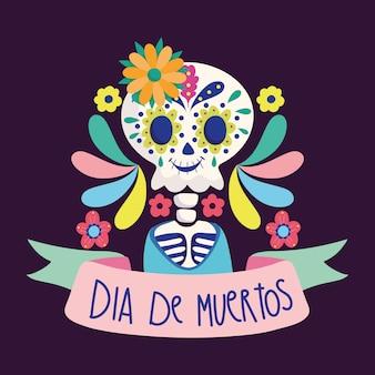 Día de los muertos, esqueleto de flores letringando la tradicional celebración mexicana