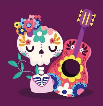 Dia de los muertos, esqueleto con guitarra y flores decoracion tradicional celebracion mexicana