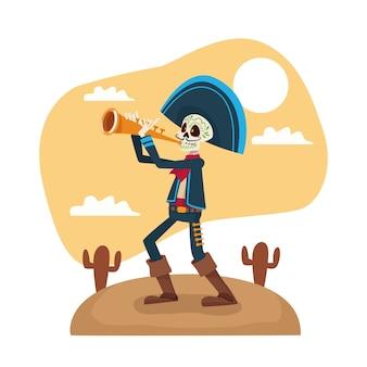 Dia de los muertos, esqueleto de mariachi tocando la trompeta