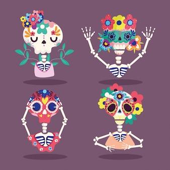Día de los muertos, esqueletos flores personajes decoración tradicional celebración mexicana