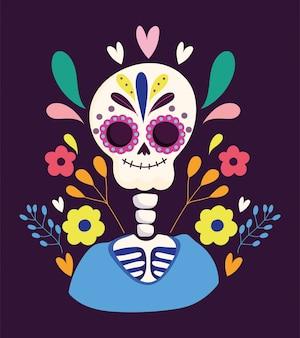 Día de los muertos, festival de flores de esqueleto celebración tradicional mexicana nacional