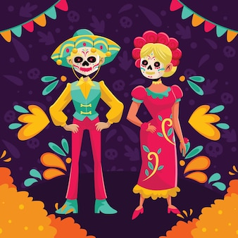 Dia de muertos flat cartoon couple character design