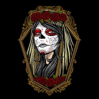 Dia de los muertos girl face painting