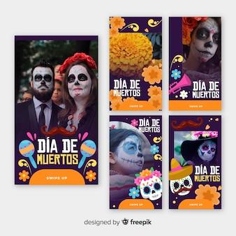 Día de muertos historias de instagram con hombres y mujeres
