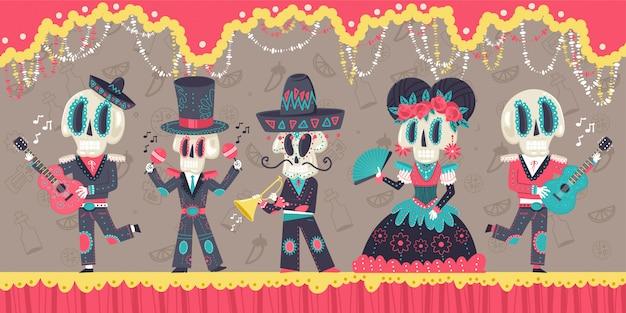Día de los muertos ilustración de dibujos animados de vector de fiesta mexicana con esqueletos e instrumentos musicales.