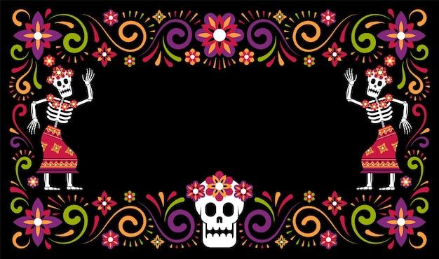 Día de muertos marco ornamental de halloween mexicano con esqueletos catrina calavera