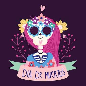 Día de los muertos, mujer esqueleto catrina flores cinta tradicional celebración mexicana