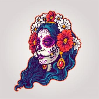 Dia de los muertos niña y flor