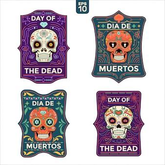 Dia de muertos o tarjetas del día de los muertos con texto en inglés y español