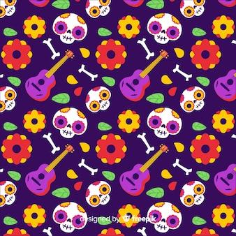 Día de los muertos patrón dibujado a mano