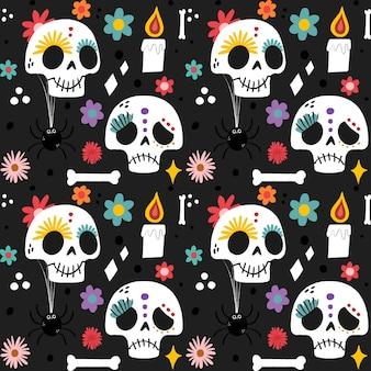 Dia de los muertos patron dibujado a mano