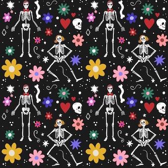 Día de los muertos patrón de diseño dibujado a mano