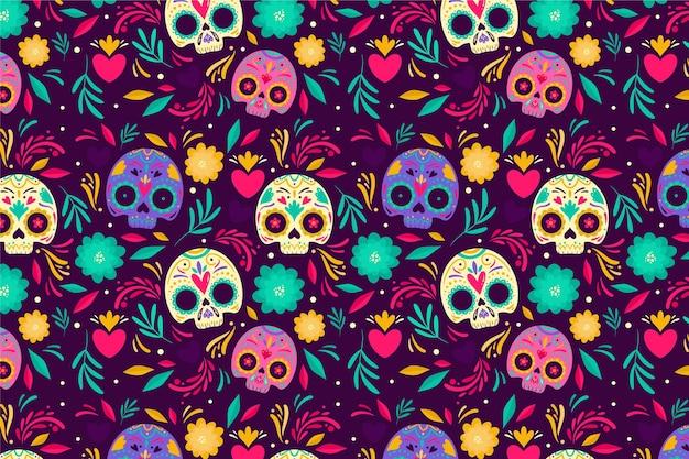 Día de los muertos patrón de estilo dibujado a mano