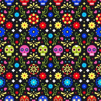 Día de los muertos de patrones sin fisuras con calaveras de colores sobre fondo oscuro