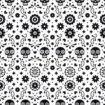 Día de los muertos de patrones sin fisuras con calaveras y flores sobre fondo blanco. diseño tradicional mexicano de halloween para la fiesta de dia de los muertos. adorno de méxico.