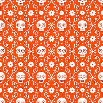Día de los muertos de patrones sin fisuras con calaveras y flores sobre fondo rojo. diseño tradicional mexicano de halloween para la fiesta de dia de los muertos. adorno de méxico.
