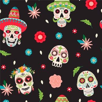 Dia de los muertos de patrones sin fisuras.