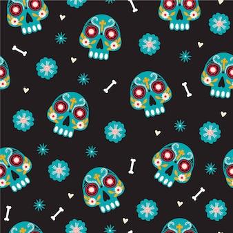 Día de los muertos de patrones sin fisuras.
