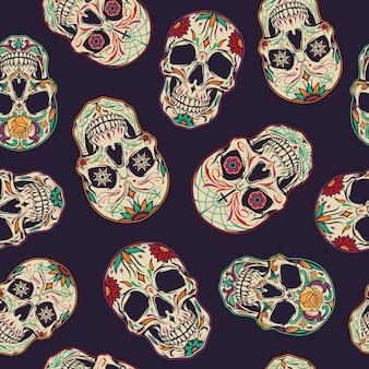 Día de los muertos de patrones sin fisuras
