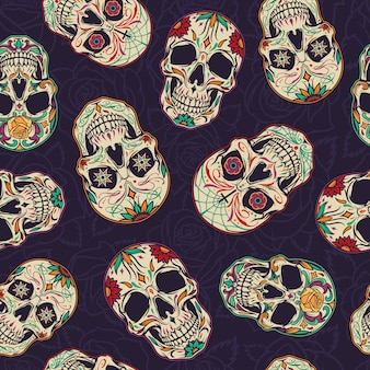 Dia de los muertos de patrones sin fisuras
