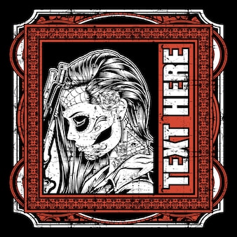 Dia de los muertos, tarjeta de felicitación del día de muertos o de halloween, invitación, pancarta.