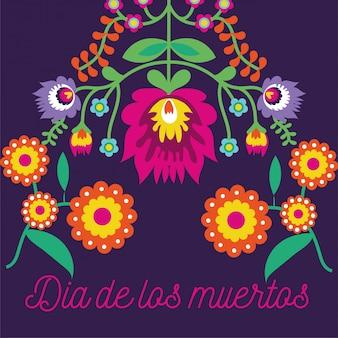 Dia de muertos tarjeta letras con flores