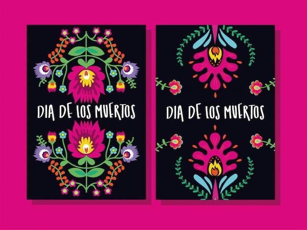 Dia de muertos tarjetas letras con flores