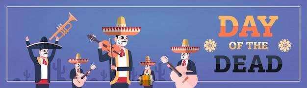 Día de muertos tradicional banner de halloween mexicano