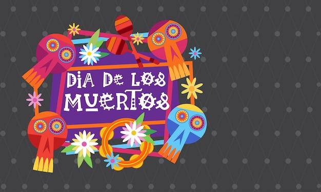 Día de muertos tradicional mexicana halloween día de los muertos fiesta fiesta decoración banner invitación