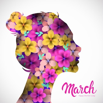 Día de la mujer 8 de marzo celebración navideña banner flyer o tarjeta de felicitación con flores en cabeza femenina
