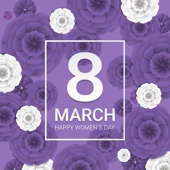 Día de la mujer 8 de marzo celebración navideña banner flyer o tarjeta de felicitación con flores de papel decorativas ilustración de representación 3d
