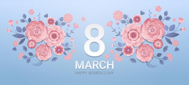 Día de la mujer 8 de marzo celebración navideña banner flyer o tarjeta de felicitación con flores de papel decorativas representación 3d ilustración horizontal
