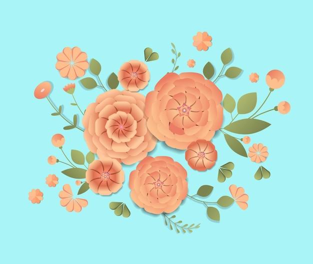 Día de la mujer 8 de marzo celebración navideña banner flyer o tarjeta de felicitación con hermosas flores ilustración horizontal
