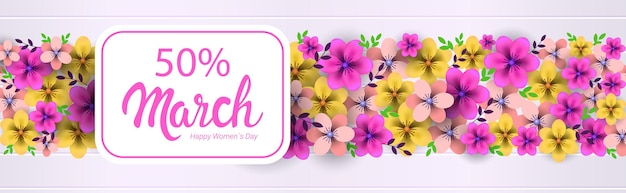 Día de la mujer 8 de marzo celebración navideña concepto tarjeta de felicitación póster o volante con flores ilustración horizontal