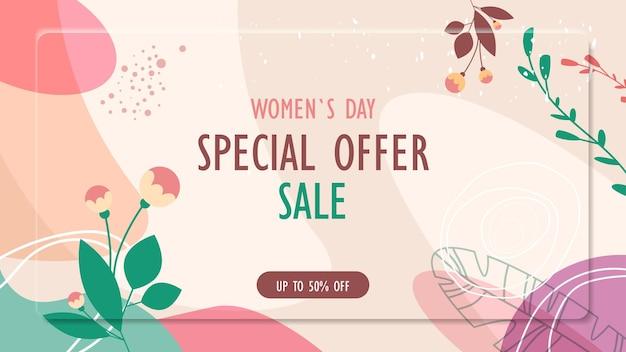 Día de la mujer 8 de marzo celebración navideña volante vibrante o tarjeta de felicitación con hojas decorativas y texturas dibujadas a mano ilustración horizontal