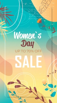 Día de la mujer 8 de marzo celebración navideña volante vibrante o tarjeta de felicitación con hojas decorativas y texturas dibujadas a mano ilustración vertical