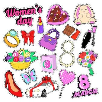 Día de la mujer 8 de marzo conjunto de elementos con flores y cosméticos para pegatinas, insignias, parches. vector, garabato