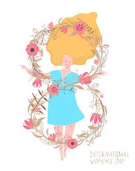 Día de la mujer 8 de marzo mujer y flores