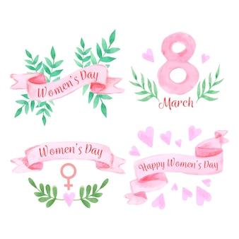 Día de la mujer acuarela con plantas y cintas.