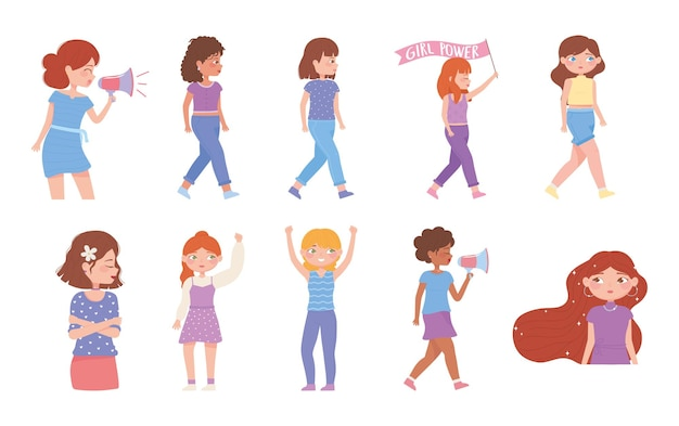 Día de la mujer chicas fuertes diferentes culturas, grupo activistas femeninas ilustración