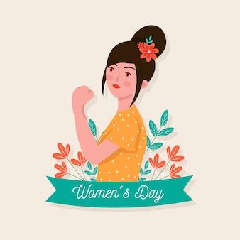 Día de la mujer femenina con flores en el pelo