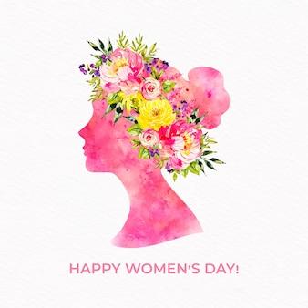 Día de la mujer floral acuarela mujer