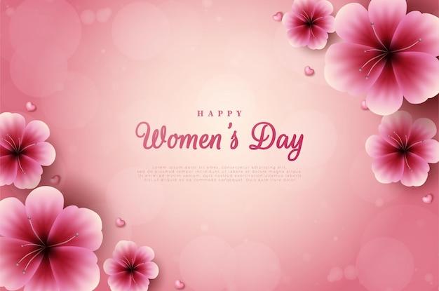 Día de la mujer con flores en las esquinas.