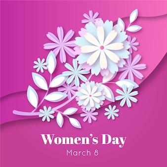 Día de la mujer flores y hojas en papel