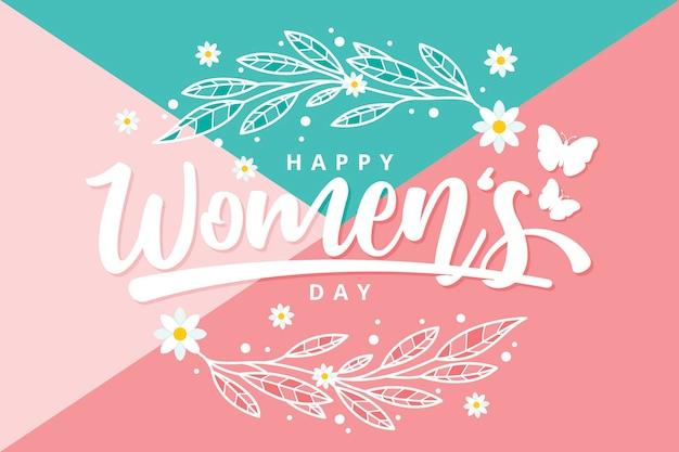 Día de la mujer con flores y mariposas.