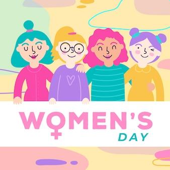 Día de la mujer con un grupo diverso de mujeres.